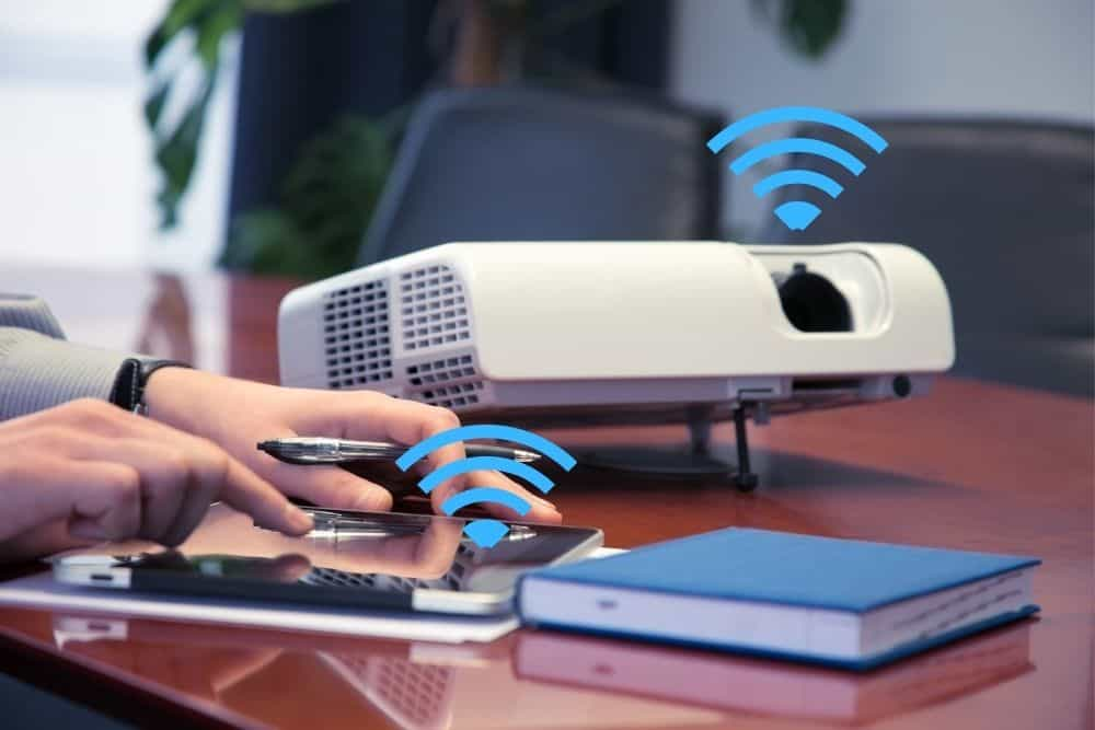 wireless connection projector connects with a tablet