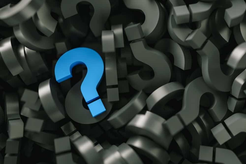 blue question mark for FAQ section