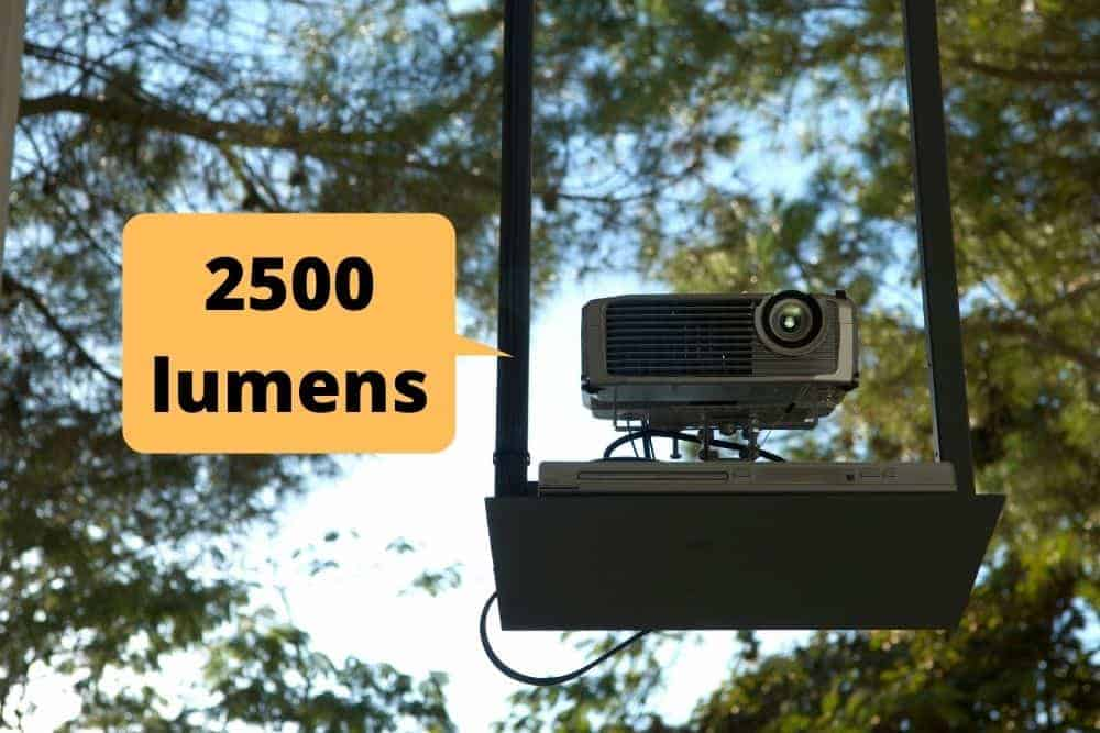 outdoor projector with 2500 lumens brightness