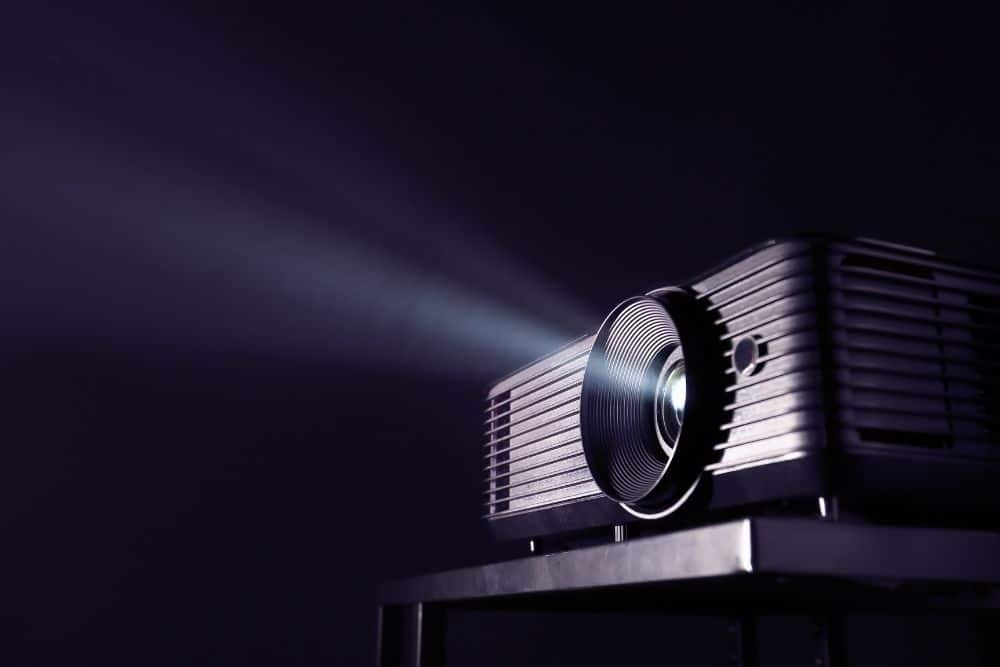 a projector projects the black color