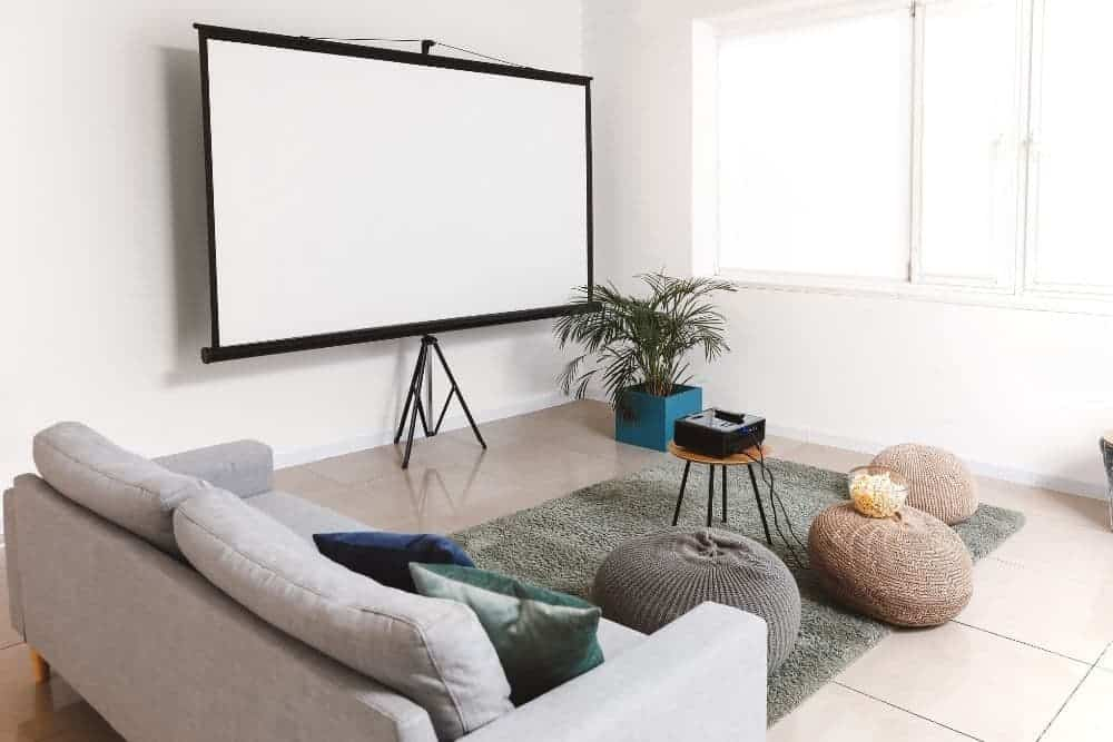 a short throw projector in a guest room