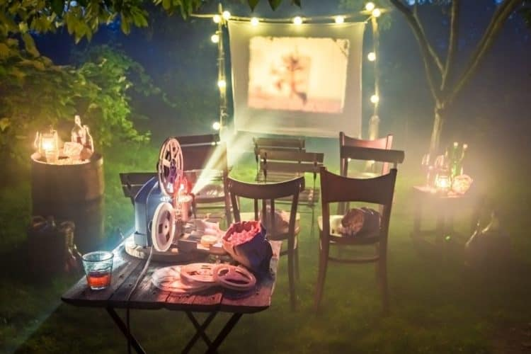 cinema outdoor with a projector