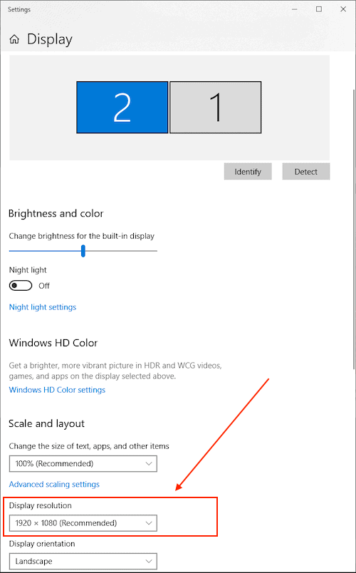 change screens resolution computer projector for win 10