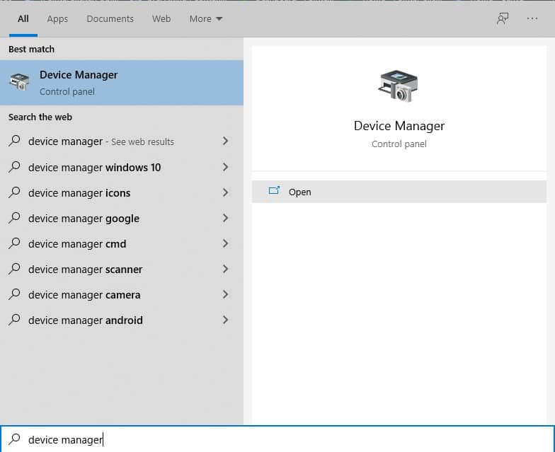 search for device manager at the Start button