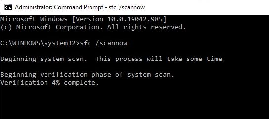 sfc scan on command prompt to get rid of corrupted files for projector drivers