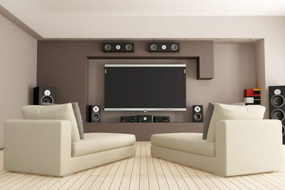stereo vs surround sound system on a theater room