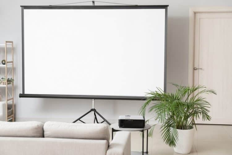 A white projector screen