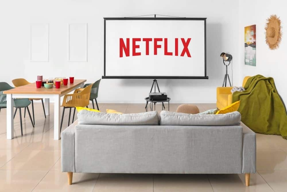 Netflix streaming on projector