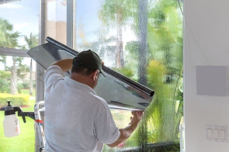 Tinting the window with aluminum foil