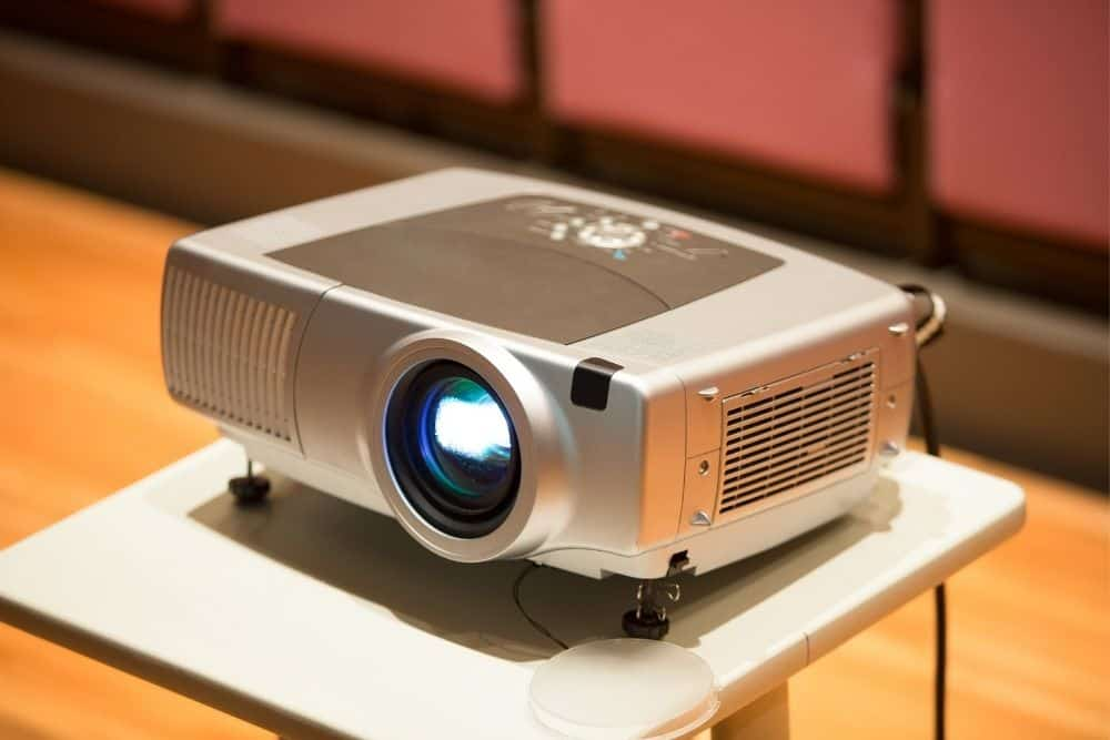 projector placed on a table
