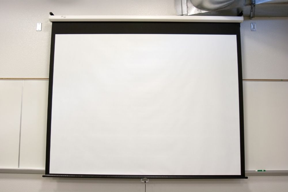 an big projector screen in a room