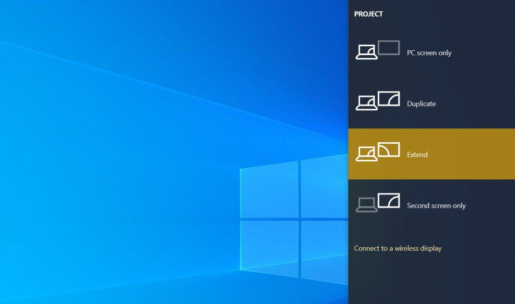 extended display mode on windows