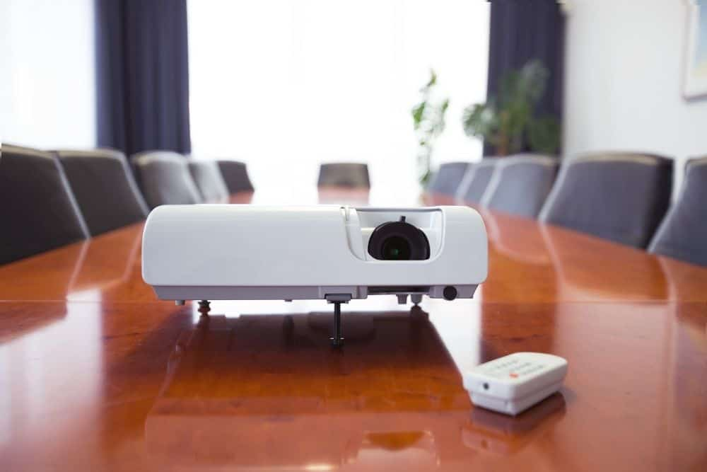 long-throw projector in a meeting room