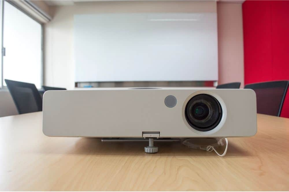telephoto projector in a meeting room