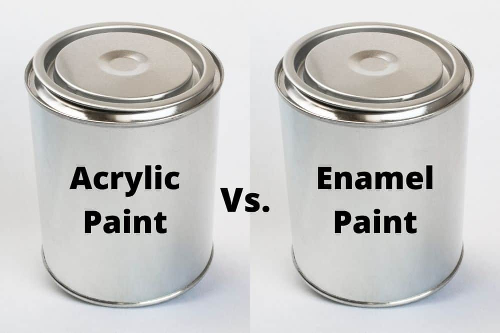 a can of acrylic paint next to an anamel projector paint