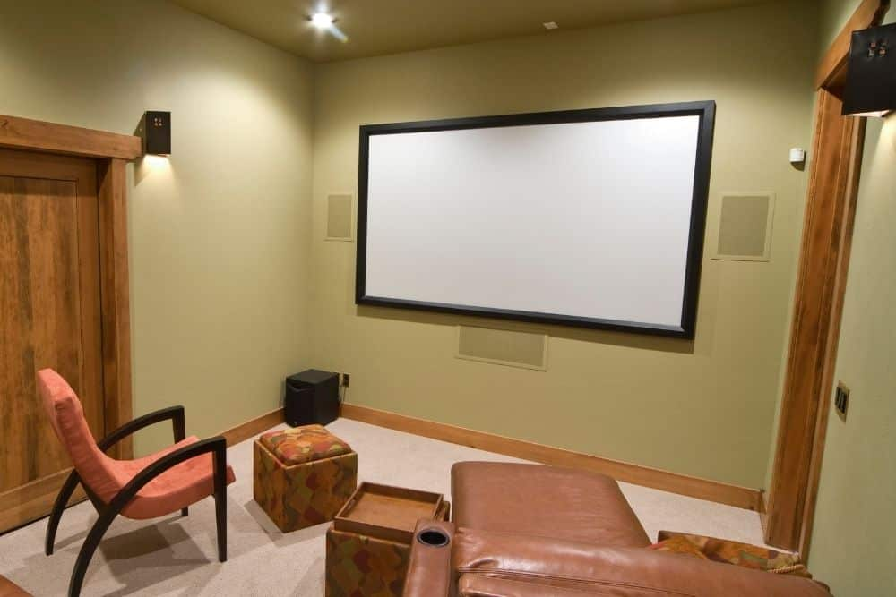 a fixed projector screen in a room