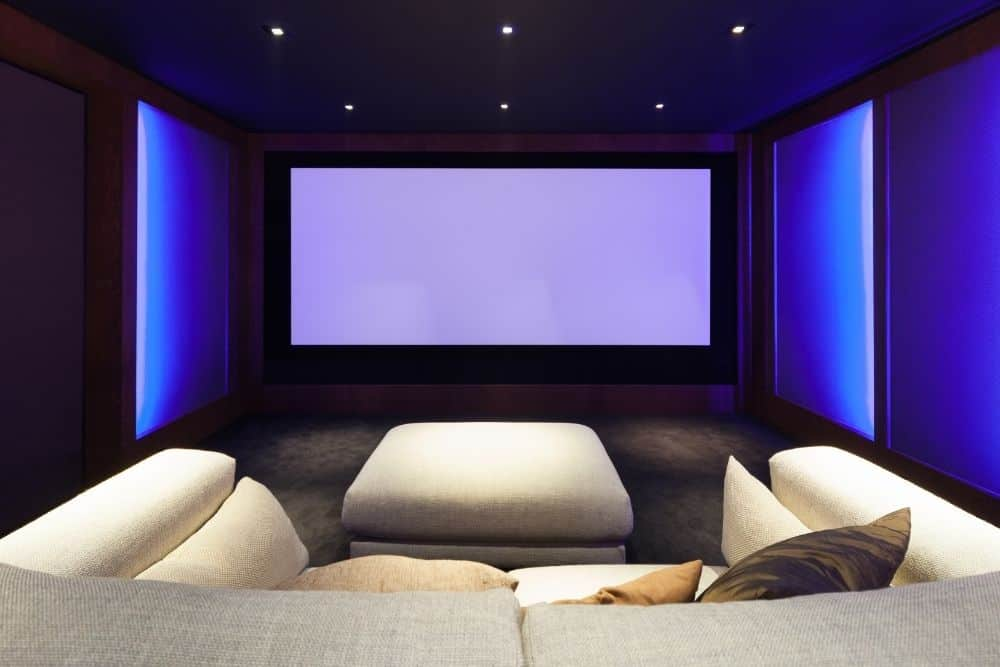 a home theater with big screen size