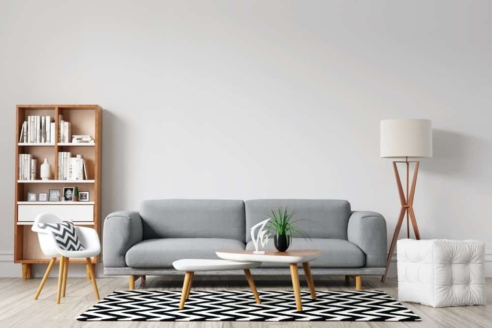 a living room with matte finish wall