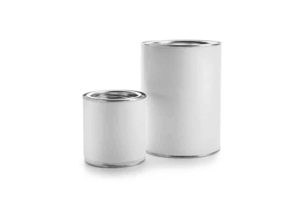 a small and bigger can of paint