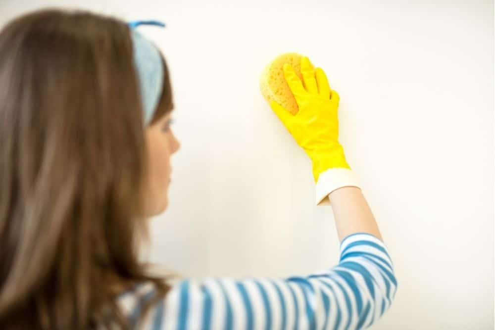 a woman cleans a matte painted wall