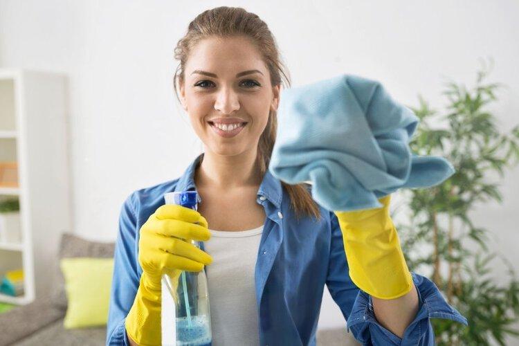 a woman preparing to clean the screen