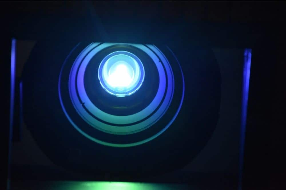 a zoom in photo of a projector lamp