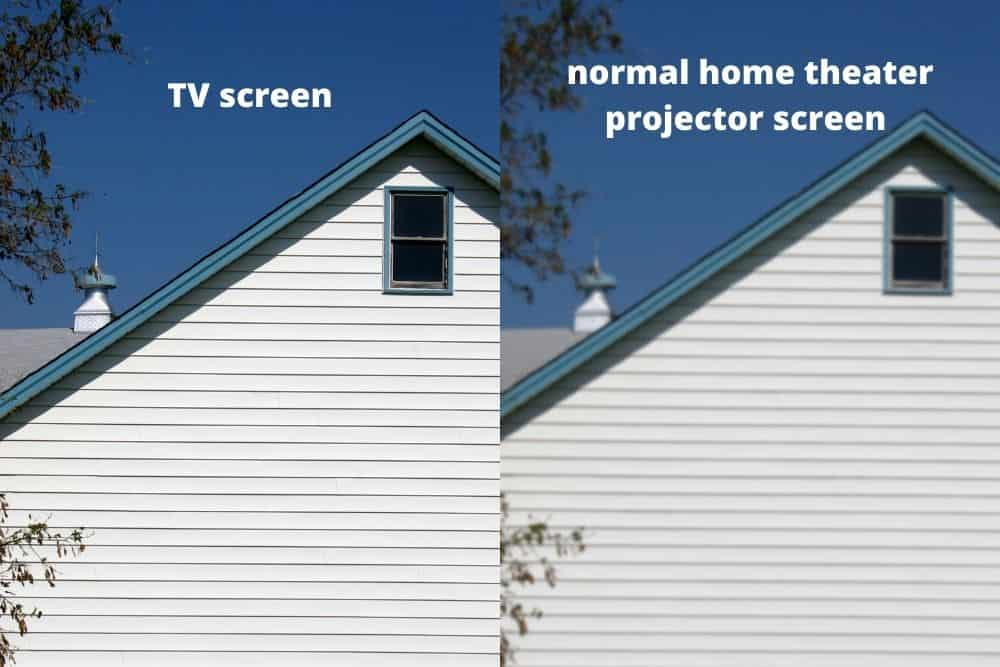 comparison between projector and TV screen