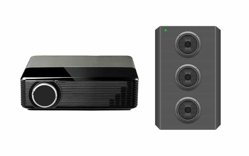 how to connect external speakers to epson projector