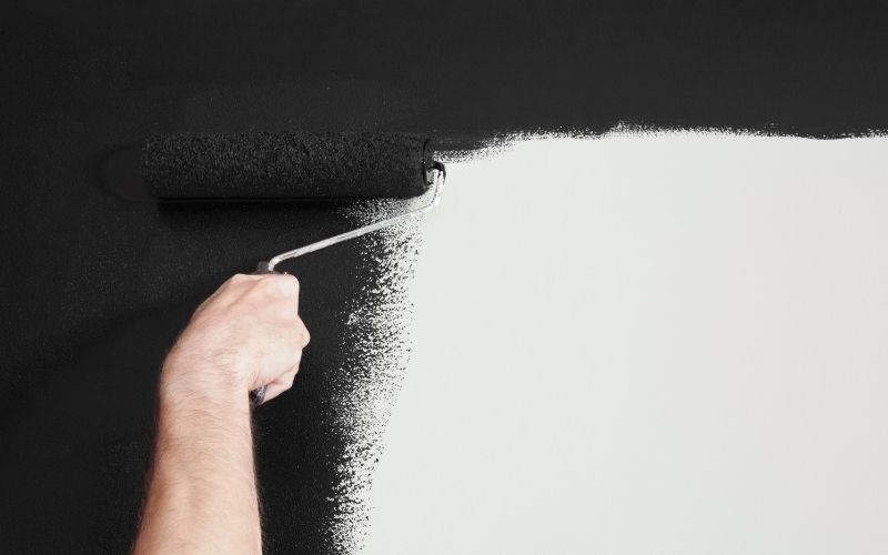 paint a wall with black