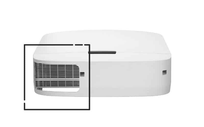 projector with a back air filter