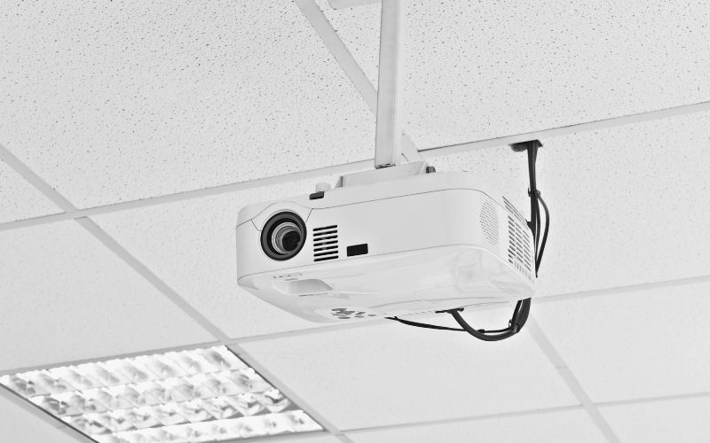 a ceiling-mounted projector