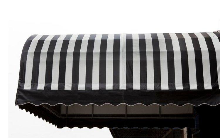 a striped canopy