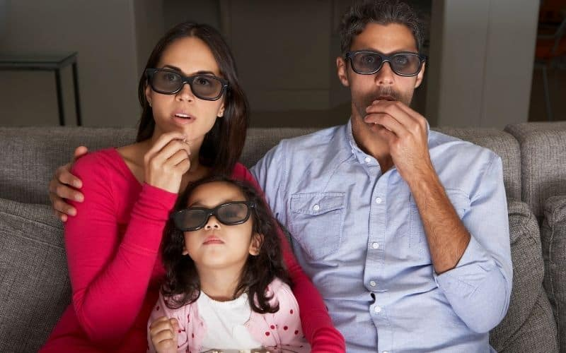 family enjoying 3D experience with 3D glasses