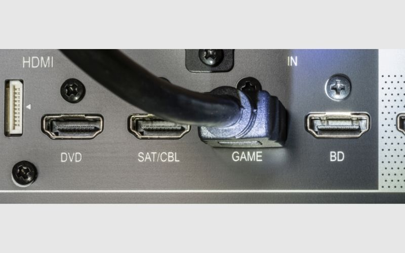 HDMI cable connected to GAME port